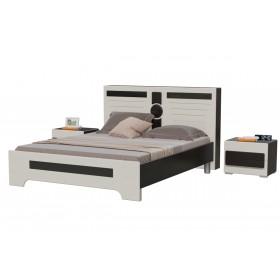 Престиж Кровать с двумя тумбочками (с ортопед. основанием), венге цаво/жемчужный лён