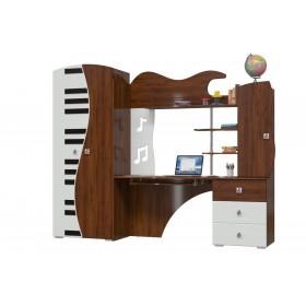 Мелодия Шкаф+Стол компьютерный, орех/белый