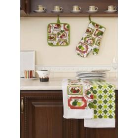 Кухонный набор (прихватка-20х20, варежка-прихватка-18х33, полотенце 38x64-2 шт.)