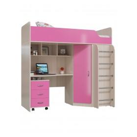Карлсон Кровать, дуб молочный/розовый