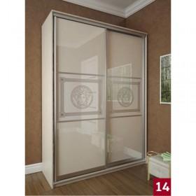 Мэри Премиум Шкаф 2-дверный, 1600, двери №14, дуб молочный/стекло лакобель с печатью
