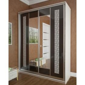 Мэри Премиум Шкаф 2-дверный, 1600, двери №15, дуб молочный/стекло лакобель с печатью