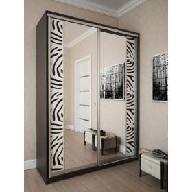 Мэри Премиум Шкаф 2-дверный, 1600, двери №16, дуб венге/стекло лакобель с печатью