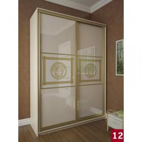Мэри Премиум Шкаф 2-дверный, 1600, двери №12, дуб молочный/стекло лакобель с печатью