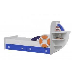 Парус Кровать одноярусная, Яхта-1, белый/синий