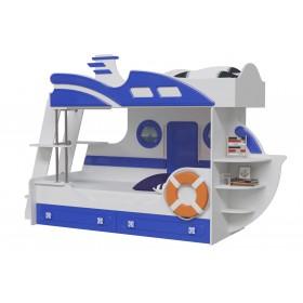 Парус Кровать двухъярусная, Яхта-2, белый/синий
